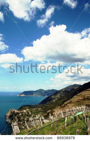 Clouds And Blue Sky At The Horizon Over The Vineyard In Cinque Terre, Italy. Foto Stock: 88938979 : Shutterstock
