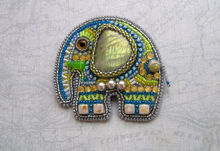 Bead embroidered elephant ... so cute!
