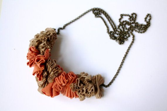 Ziczac fabric necklace Brass Terracotta Long necklaces by ganbayo