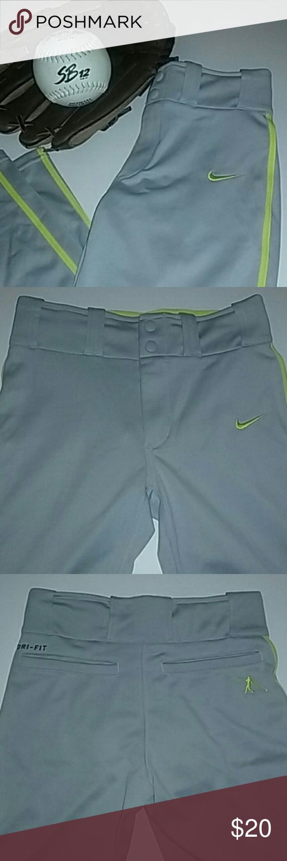 Boys Nike Baseball Pants Boys or Unisex Baseball/Softball Pants.              NIKE DRI-FIT.                                                               Size Small.                             Two snap buttons with zipper. Two back pockets Color: Yellow/Grey 100% Polyester  These are brand new with tags. $35.00  ⚾⚾⚾⚾⚾⚾⚾⚾⚾⚾⚾⚾⚾⚾⚾ Great for practice or game day! Nike Costumes Seasonal