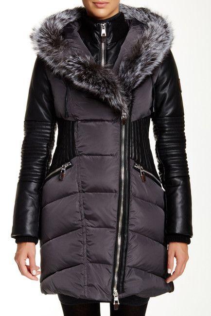 Image of Nicole Benisti Genuine Fox Fur Trim Faux Leather Sleeve Down Coat