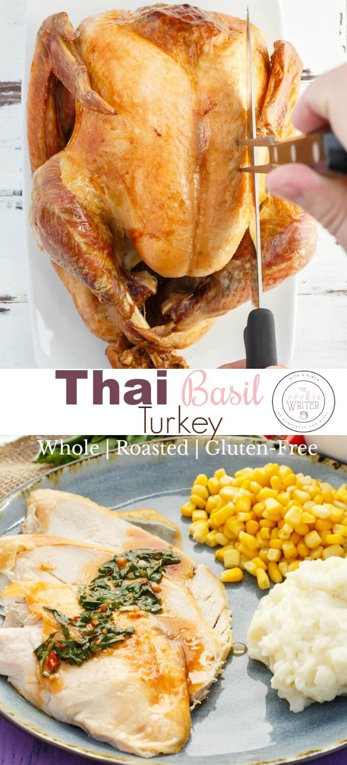Inauthentic Thai Basil Turkey | #sponsored | Perfect for Easter, Christmas, Thanksgiving, Mother's Day, or Father's Day, this whole turkey recipe can feed a crowd! The Thai basil sauce is not spicy, and adds a nice element to turkey. Completely gluten-free, and links to a vegetarian varietal! #2meals1recipe #turkey #Easter #wholeturkey #glutenfree #Thai #food #thaifood