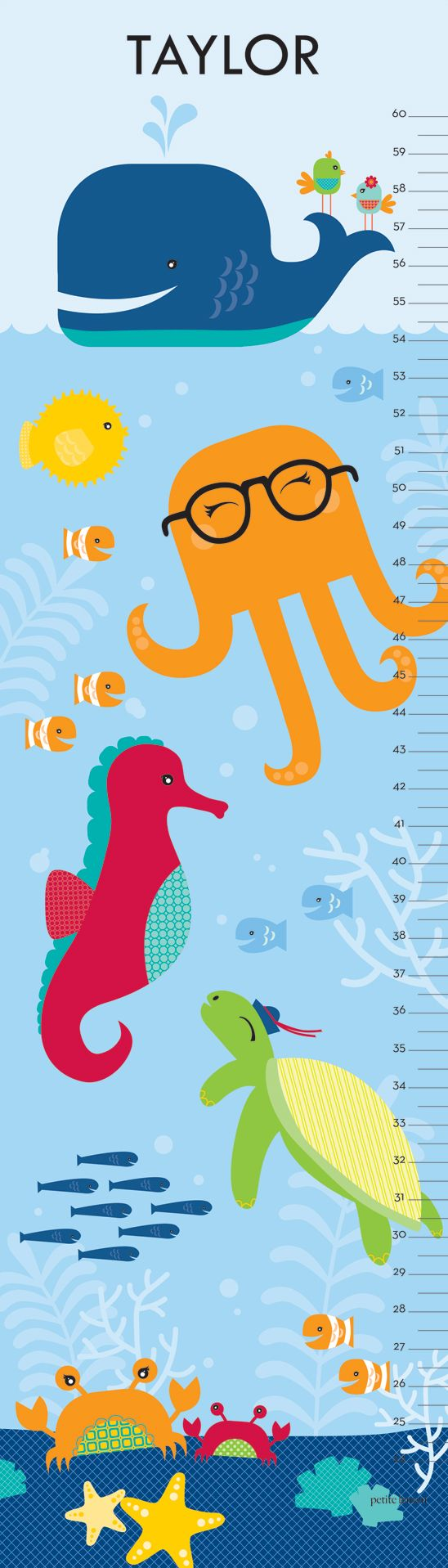 Under The Sea - Ocean Blue. Ocean Themed Personalized Growth Chart. With a jaunty whale, playful turtle and silly glasses-wearing octopus, our Under the Sea growth chart will make a splash in your little one's room. Available in three charming colors - Ocean Blue, Aquatic Teal or Coral Pink color schemes.