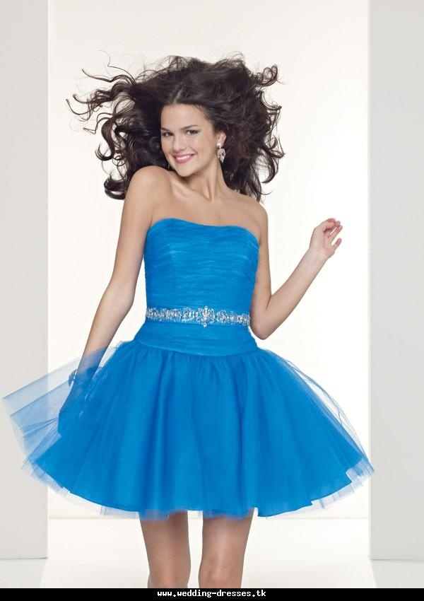Blue Puffy Prom Dresses
