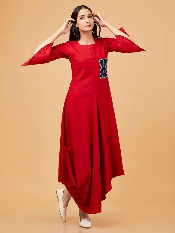 a9f9a2e0f9 Red Cotton Linen Asymmetric Dress in 2019