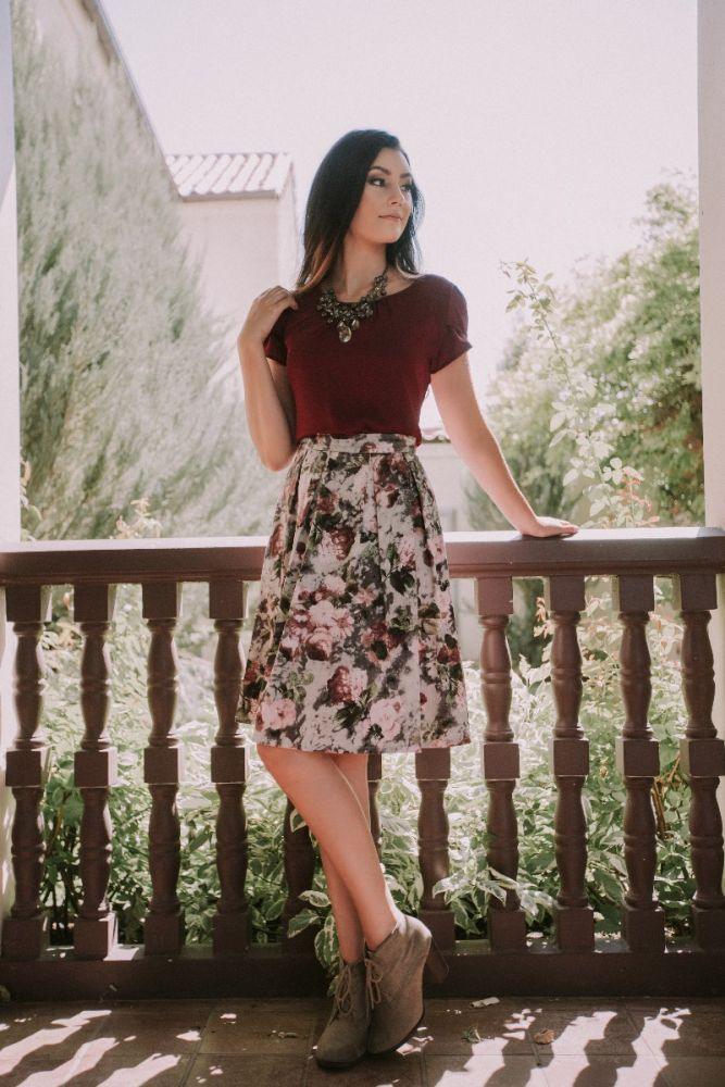 MSF6103 - Mauve Floral A Line Skirt