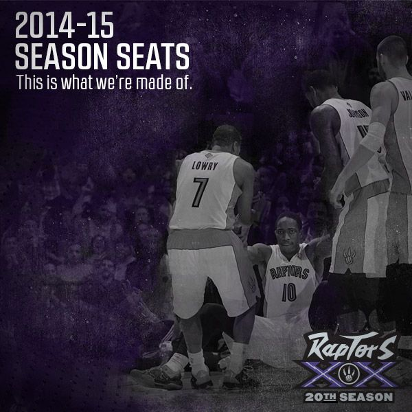 #Raptors 2014-15 Season Seats are on sale now! Take advantage of Early Bird pricing and Playoffs Priority and purchase today at Raptors.com/20years