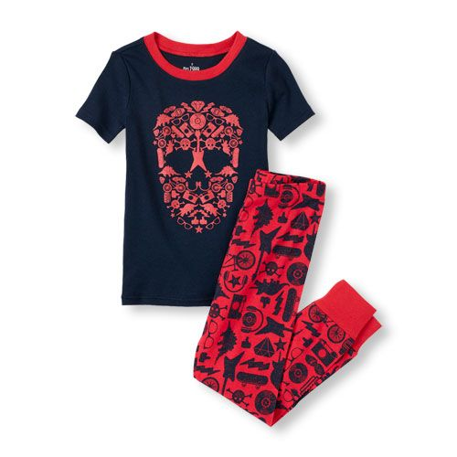 Boys Short Sleeve Skull Graphic Tee and Pant Pajama Set | Shops ...