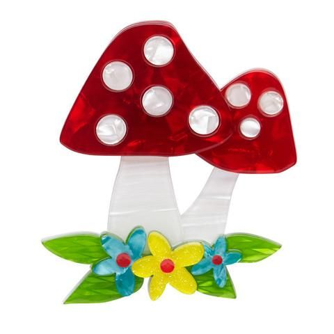 """Erstwilder Collectable Forest Fun Guy Brooch. """"What kind of room has no doors and no windows? We don't know either but it doesn't sound like a very fun room!"""""""