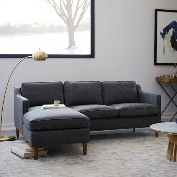 A Hamilton upholstered chaise sectional from West Elm is one of the best sofas for small spaces.
