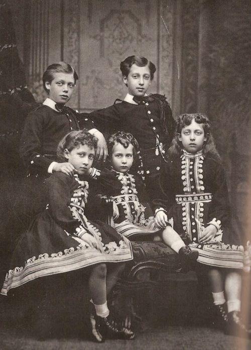 From left: HRH Prince George (1865-1936), HRH Princess Louise (1867-1931), HRH Princess Maud (1869-1938), HRH Prince Albert Victor (1864-1892) and HRH Princess Victoria (1868-1935) of Great Britain