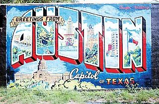 """""""Greetings from Austin"""" postcard on W Annie & S 1st: Photo"""