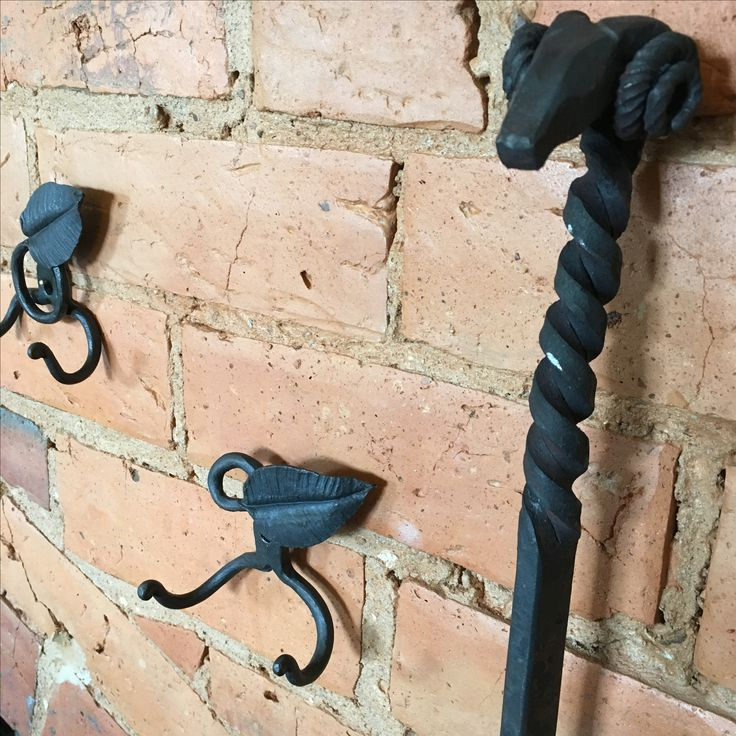 Hand forged rams head fire poker & 'leaf' hooks by Josh Towns~Blacksmith & Farrier, available at Rust Emporium