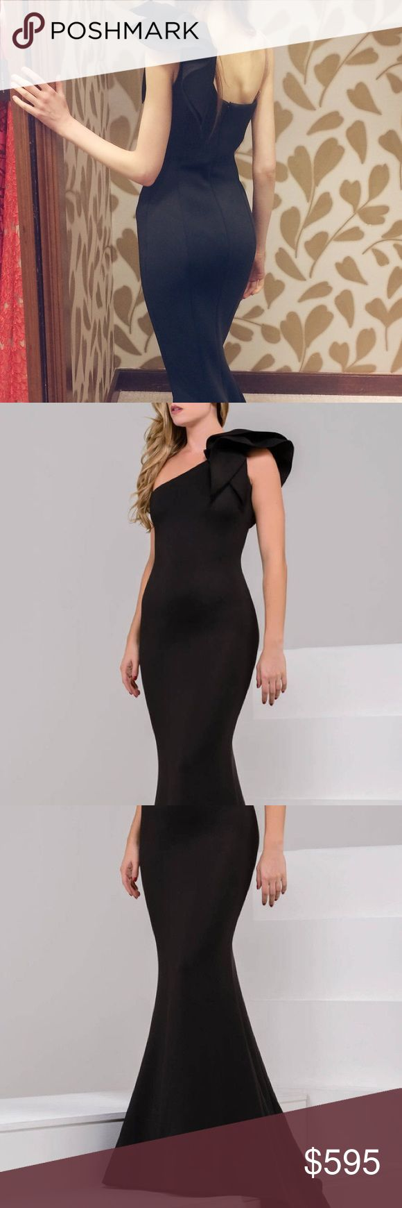 Jovani One-Shoulder Mermaid Gown Wonderfully sculpted from a luxurious scuba fabric, this classy piece flaunts an asymmetrical neckline with stunning ruffle detail cascading from one shoulder. The seam-curved silhouette has an exquisite hourglass shape. The mermaid skirt flares in a stunningly molded design as it rushes to a divine train. This gown is BRAND NEW from Neiman Marcus, with tags and never worn. It was purchased for a wedding bridesmaid in the incorrect size of 4 (first photo…