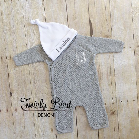 Going Home Outfit Boy - for Newborns and up to 12 months sizing.  Your precious little one can snuggle up in this Organic Cotton Footless