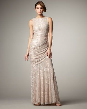 Sequined Lace Column Gown by Carmen Marc Valvo need it in black