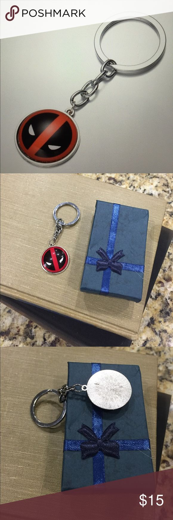 Deadpool Alloy Dome Keychain/New Very cool Deadpool keychain, about the size of a quarter and comes with a nice gift box Deadpool Accessories Key & Card Holders