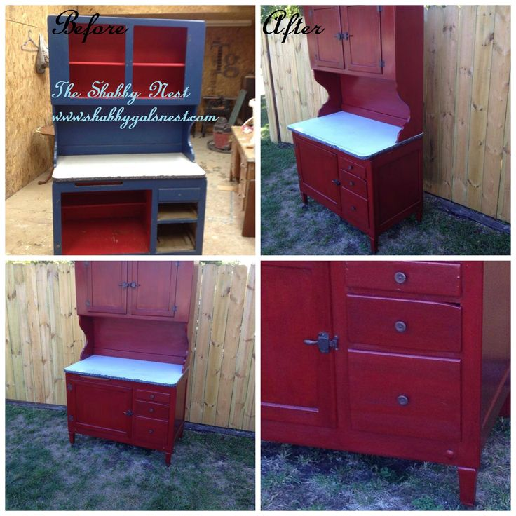 A Hoosier cabinet makeover. Love the red color. Goes great with my decor - 27 Best Hoosier Cabinet Ideas Images On Pinterest Alternative