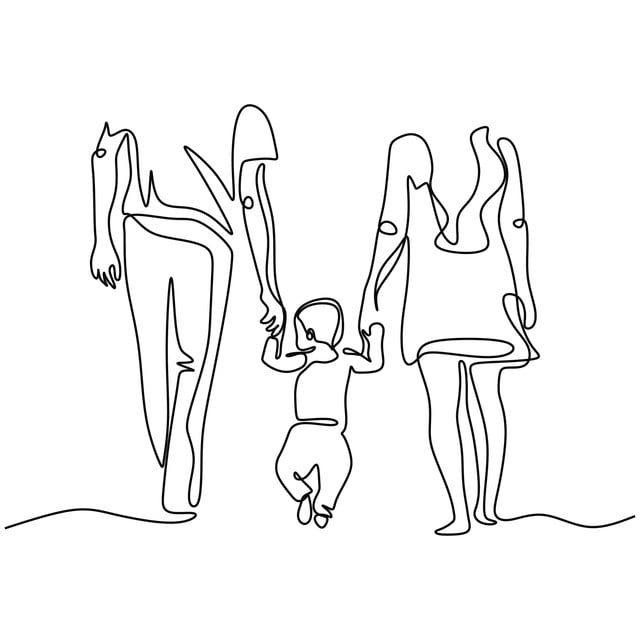 Vector Illustration People Outline Silhouette Sketch Care Concept Mother Graphic Life Human Symbol C Desenho De Linha Unica Desenho De Linha Maos Dadas Desenho