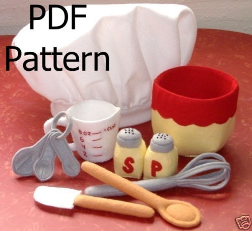 Felt Play Food Pattern Baking Bowl Child Size Chef Hat