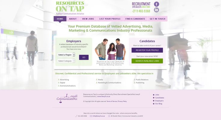 Resources on Tap is a unique initiative by South African Direct Recruitment Specialists, Bespoke Design, Bespoke Recruitment Software, Responsive: Mobile/Tablet, Website Hosting, Email Marketing, Organic SEO, Social Media, Consulting Visit the website: www.resourcesontap.co.za