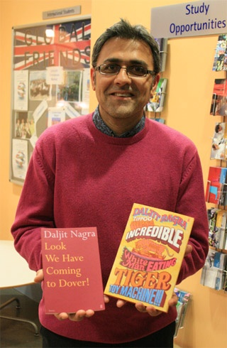 Daljit Nagra: Daljit Nagra was born and raised in West London, then Sheffield, and currently lives in Willesden where he works in a secondary school. His first collection, Look We Have Coming to Dover!, won the 2007 Forward Prize for Best First Collection and was shortlisted for the Costa Poetry Award. In 2008 he won the South Bank Show / Arts Council Decibel Award.