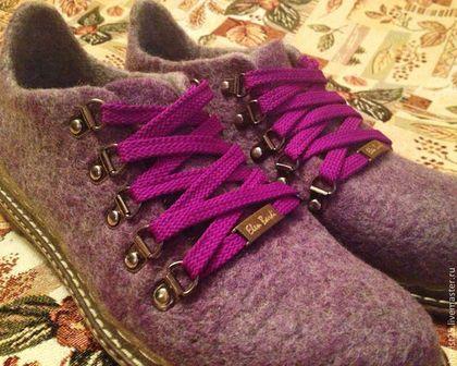 """Валяные ботинки """"Сирень"""" - сиреневый,Валяные ботинки,валяные сапожки,валяная обувь"""