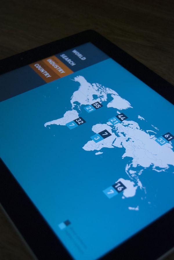 Flat UI Tablet Design Map Pins Menu