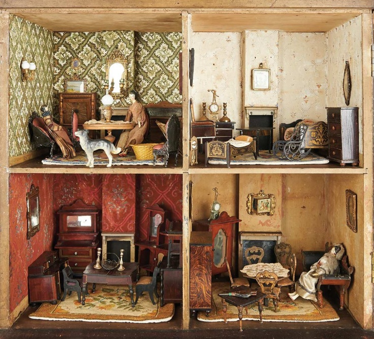 Early 19th Century English Wooden Furnished Dollhouse The