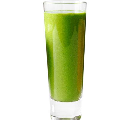 This healthy smoothie gets its vibrant green colour from avocado, cucumber, spinach and kale. Blitz with pineapple and coconut water.