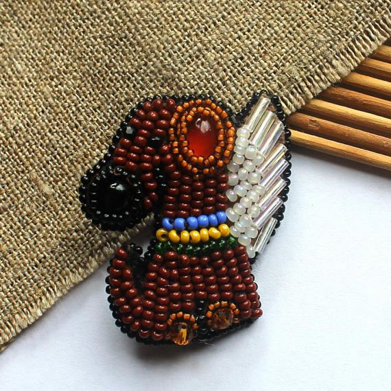 Bead embroidered brooch Dog-Angel Funny brooch New Year gift