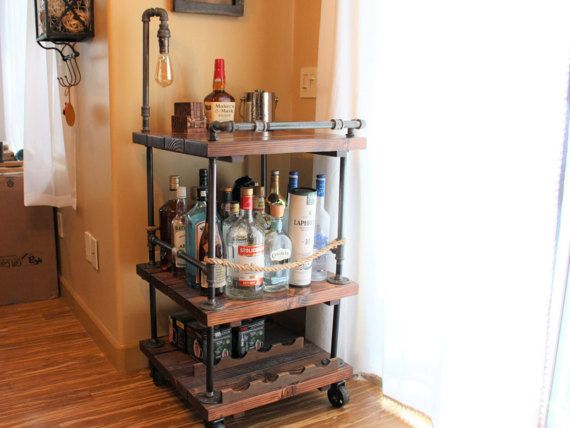 Rustic Bar Cart & Light / lamp - Industrial Pipe Wood Bar / Unique Bars / whiskey / wine cart / rollaway / rustic furniture / kitchen Island