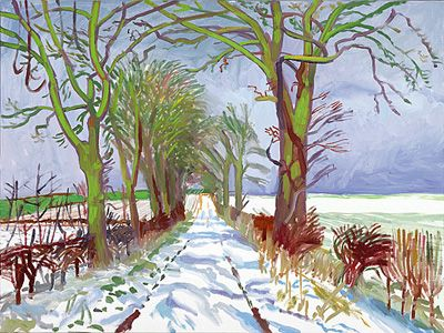 David Hockney - Winter Tunnel with Snow, March 2006.     oil on canvas 36 x 48
