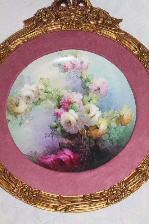 Breathtaking HUGE HAND PAINTED ROSES ~OUTSTANDING HAND CARVED ANTIQUE FRENCH FRAME ~ Museum Quality Masterpiece Limoges France Stunning Still Life
