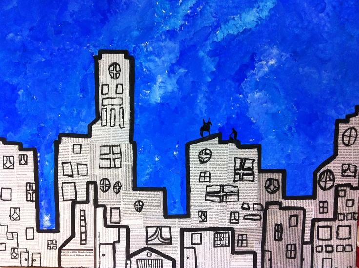 skyline met sint en piet, kranten als basis en plakkaat verf, gemaakt met de hele groep