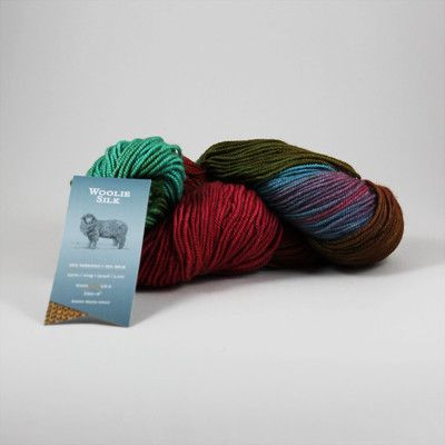 """Woolie Silk – KnitCreek.com hand dyed 65% Wool, 35% Silk 230m / 100g; 252yds / 3.5oz Suggested needle size & gauge: US 6/4mm; 20st/4"""" All hand dyed yarns should be considered bespoke and one of a kind."""
