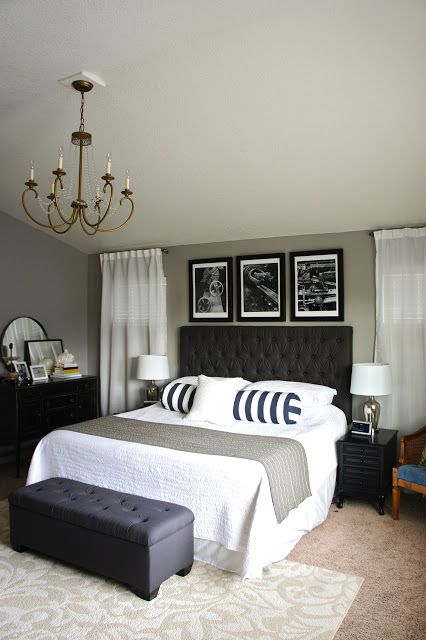 Dorian Gray by Sherwin Williams.  It's a blue gray~ white bedding and white bedskirt and tufted/upholstered headboard