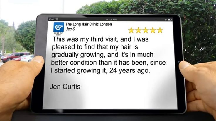 http://www.longhairinlondon.com 0207 495 9043   Hairdressers London The Long Hair Clinic London London reviews  https://www.youtube.com/watch?v=rv08-JYmI7Y  5 Star Rating  This was my third visit, and I was pleased to find that my hair is gradually growing, and it's in much better condition than it has been, since I started growing it, 24 years ago.  Jen Curtis  The Long Hair Clinic London 22 Maddox Street, London  W1S 1PW