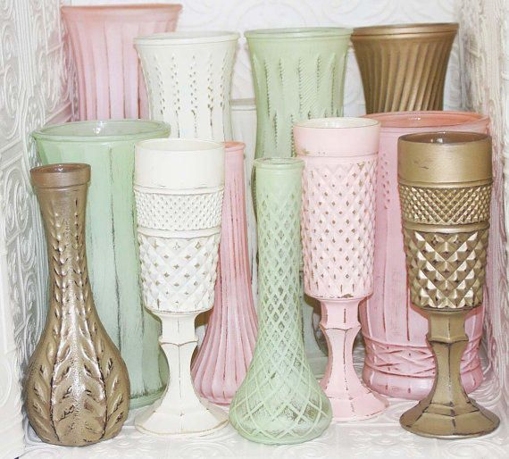 glass vases painted white, mint, pink, and gold
