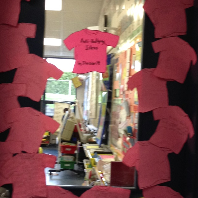 Anti-Bullying Day - Pink T-shirt Day - Paper T-shirts on which students write what they can do to avoid/stop bullying.