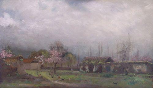 PAISAJE DE PRIMAVERA,  Oleo sobre Tela 55 x 93 cm Museo Nacional de Bellas Artes, Santiago, Chile