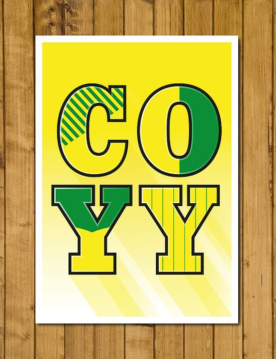 Norwich City FC  COYY  Home Kits Poster by headfuzzbygrimboid