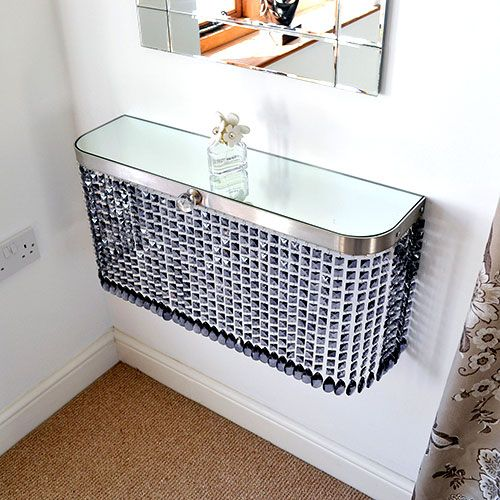 Grey crystal and Grey bead ends with a mirror glass top creates an amazing makeup and beauty console table