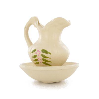 Pichet et vasque crème décor fleuri
