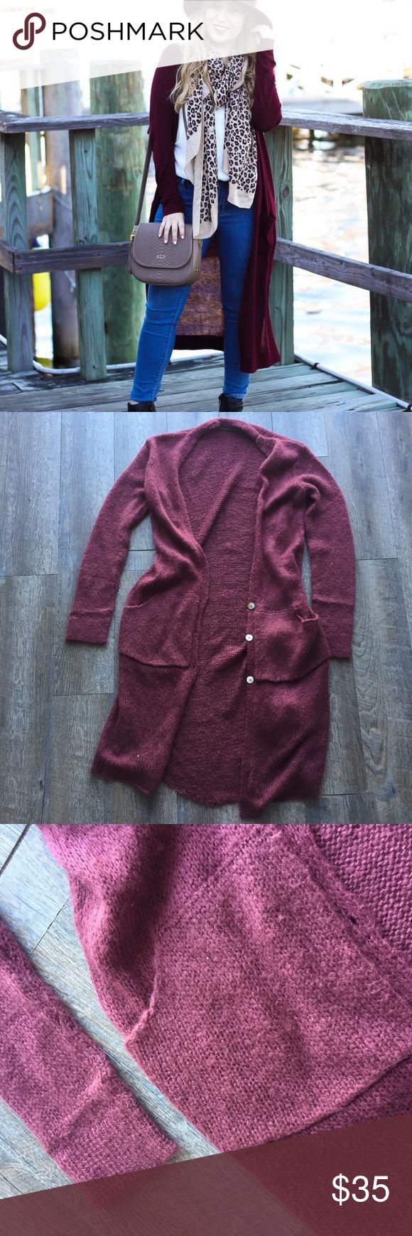 Maroon knit duster size small/medium form WS Very soft maroon duster form the brand wooden ships by Paola Beundia. Has two pockets, it is in a size small/medium. Smoke free home. Is great condition. Wooden Ships Sweaters Cardigans