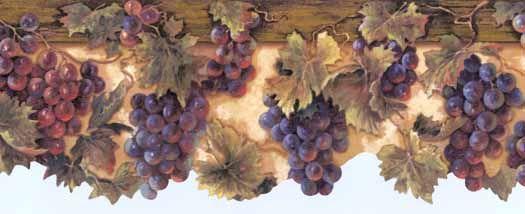 Tan Harvest Time Grape Wallpaper Border - Wallpaper & Border ...