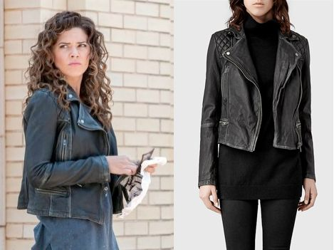 "Zed Martin (Angélica Celaya) wears an Allsaints Cargo Leather Biker Jacket in the color Black/Grey in Constantine Season 1 Episode 2 ""The Darkness Beneath."" #constantine #zed #nbc"