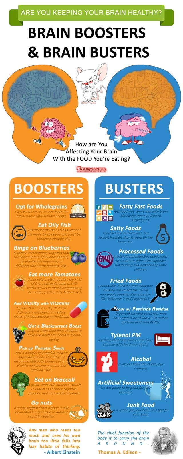 brain boosters and brain busters - #infographic keeping your #brain #healthy