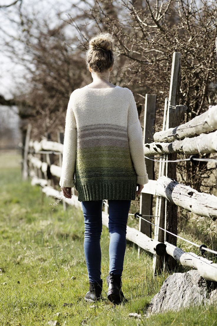 Knitted sweater in green shades www.panduro.com Yarn by Panduro #sweater #DIY #cardigan #green #knit