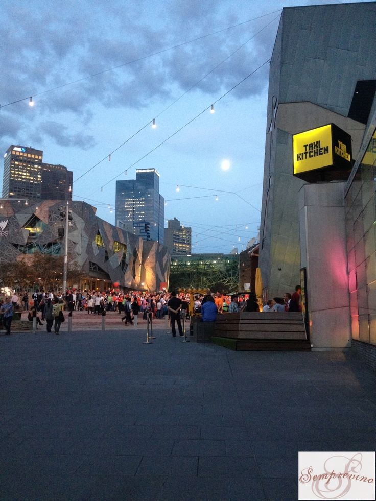 Full Moon over Federation Square Melbourne March 2014